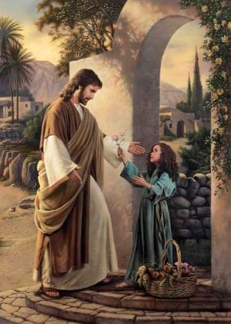 Jesus-Picture-With-Little-Girl-Giving-Flowers-Beautiful-Scene